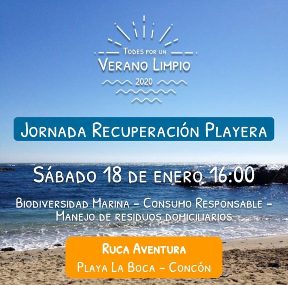 Jornada de Recuperación Playera Playa la Boca de Concón. Taller de reciclaje La Ruca de Concón.18 de enero 2020